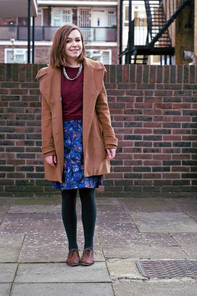 purple H&M skirt - brown Topshop shoes - light brown modcloth coat