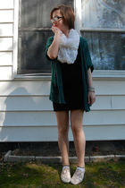 green silence and noise cardigan - black H&amp;M dress - white H&amp;M scarf - beige Ked
