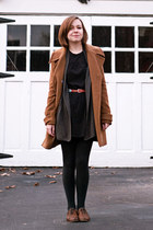brown oxford Topshop shoes - black volcom dress - brown modcloth coat