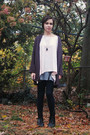 gray H&M cardigan - white H&M top - silver antique necklace - heather gray Targe