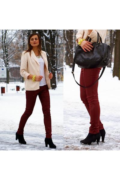 H&M bag - Pearlz boots - SH jacket - Topshop sh pants - H&M necklace