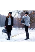 black Zara coat - black H&M hat - white studs diy NN shirt - black H&M bag