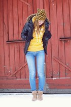 black pull&bear jacket - blue Miss Sixty jeans - mustard H&M hat