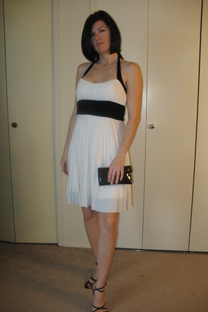 white neiman marcus dress - black Aldo shoes - black Chanel wallet