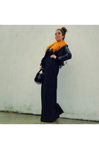 carrot orange fur Bimba&Lola necklace - black leather H&M jacket