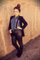black leather pants H&M pants - blue denim H&M blouse - black H&M accessories