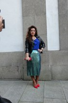turquoise blue sequins H&M skirt - red H&M shoes - black leather H&M jacket
