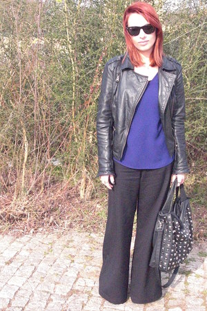 pull&amp;bear jacket - Zara shirt - Parfois bag - Ray Ban sunglasses - vintage pants