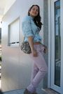 Blue-pull-bear-shirt-gray-pull-bear-purse-pink-bershka-pants-beige-unknown