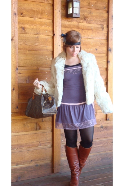 thrift coat - Victorias Secret dress - Urban Outfitters accessories - Joan and D