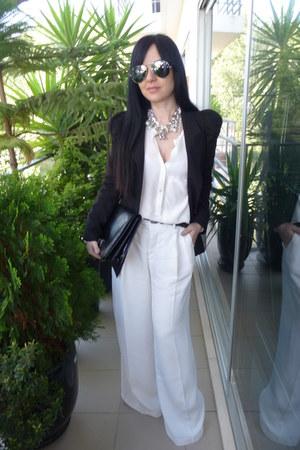 black Queens Wardrobe blazer - black Mango bag - white Zara pants