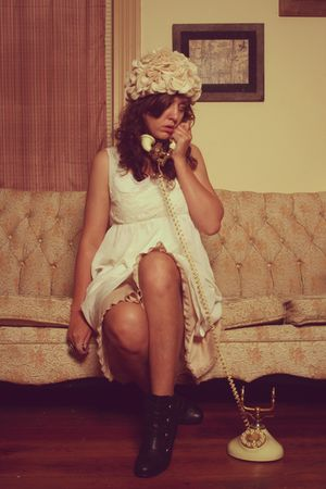 white thrift hat - white estate sale dress - black modcloth shoes