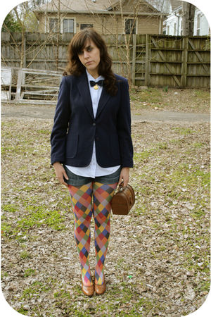 blue Savers shirt - blue Oscar de la Renta blazer - red Amazon tights - brown Sa