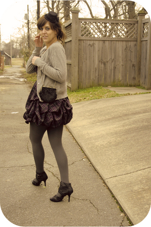 silver thrift cardigan - purple Charlotte Russe dress - black Rue 21 shoes - bla