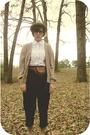 Beige-estate-sale-hat-beige-lacoste-sweater-white-thrift-shirt-brown-modcl