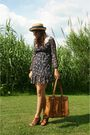 Blue-shop-dixi-dress-brown-cynthia-vincent-shoes-brown-thrift-purse-beige-