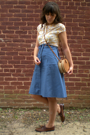blue rummage sale skirt - brown salvation army shoes - yellow ebay shirt