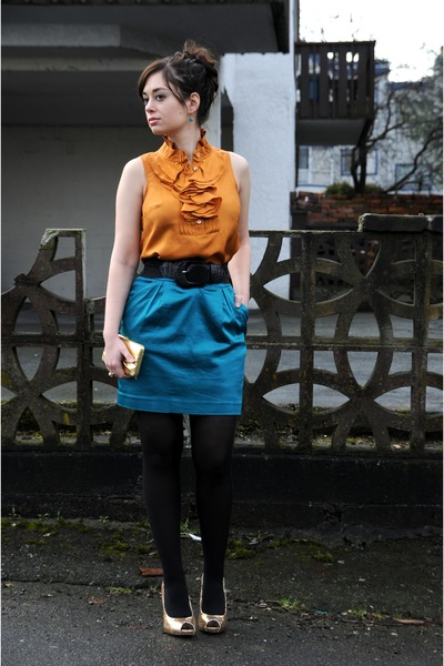 carrot orange J Crew blouse - black White House Black Market belt - teal Club Mo