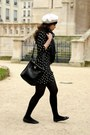Navy-zara-dress-cream-tait-vancouver-hat-puce-diwali-scarf-black-marc-by-m