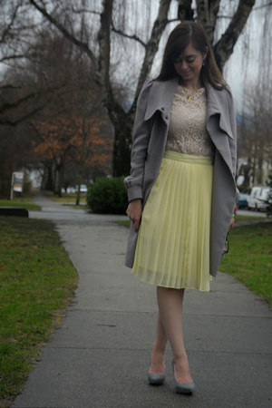 light yellow Club Monaco skirt - light pink H&M dress - heather gray H&M coat