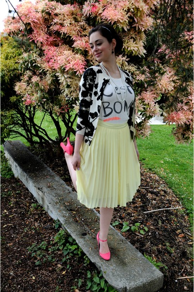 black J Crew sweater - light yellow Club Monaco skirt - white J Crew t-shirt - h