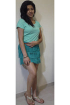 turquoise blue fringe Zara skirt - brown Bershka belt
