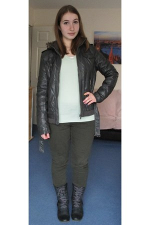 charcoal gray gray leather the Sting jacket - gray tesco boots