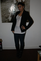 black Miss Selfridges blazer - white H&M vest - blue H&M leggings - black Primar