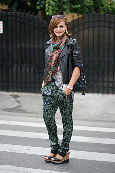 black printed Koton pants - light brown leopard print Topshop shirt