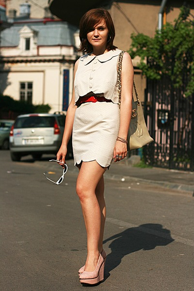 cream asos dress - cream vintage Chanel bag