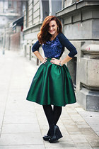 forest green midi Choies skirt - black wedge River Island shoes