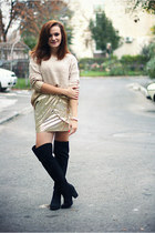 gold OASAP sweater - black over the knee new look boots