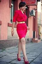 hot pink vintage Thierry Mugler dress - pink glitter River Island shoes