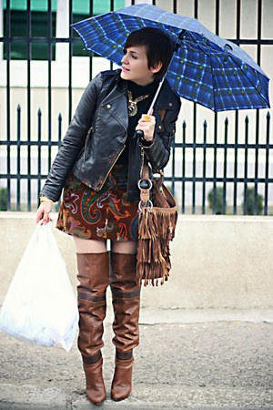 brown Stradivarius boots - brown vintage Etro skirt