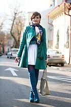 green asos coat - off white vintage Chanel bag - white River Island skirt