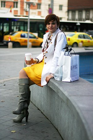 heather gray Stradivarius boots - white Zara coat - yellow vintage skirt