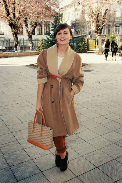 camel thrifted coat - balenciaga bag - brown pants - dark brown random brand boo
