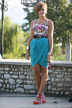 wrap asos skirt - River Island sandals - crop River Island top