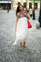 hot pink suede OASAP bag - white chiffon Sheinside dress