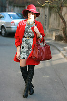 black random brand boots - silk Zara dress - white vintage Pierre Cardin coat -