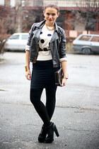 black glittery Topshop boots - white polka dots MinkPink sweater
