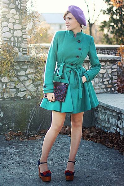 blue Jeffrey Campbell shoes - teal asos coat - vintage accessories