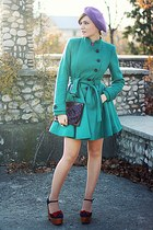 blue Jeffrey Campbell shoes - teal asos coat - vintage accessories