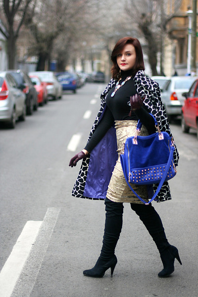 gold velvet River Island skirt - black animal print Bebe coat