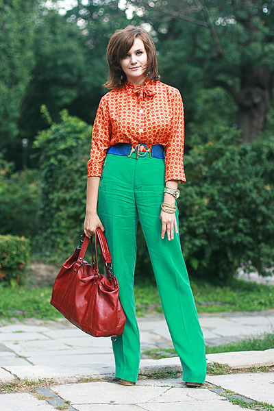 orange vintage shirt - brick red Mango bag - green Zara pants - blue vintage bel