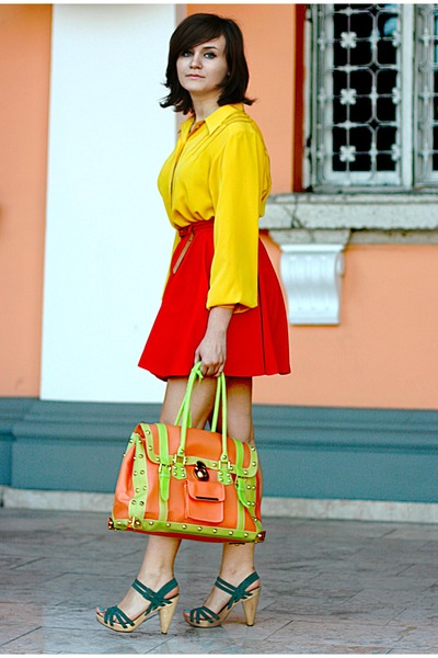 green Zara sandals - yellow vintage shirt - red River Island skirt