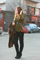 black boots - olive green velvet River Island blazer - vintage bag - vintage bel