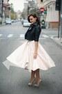 Nude-zara-shoes-black-cropped-asos-jacket-light-pink-midi-h-m-skirt