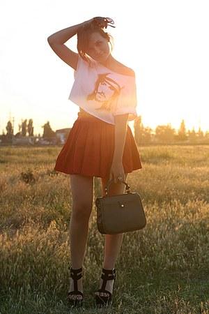 heather gray vintage bag - black Giuseppe Zanotti sandals - red vintage skirt -