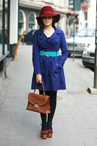 Jeffrey Campbell shoes - navy polka dots vintage dress - purple Bershka coat - v